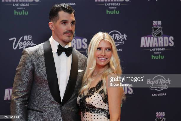 Brian Boyle of the New Jersey Devils and his wife Lauren arrive at the 2018 NHL Awards presented by Hulu at the Hard Rock Hotel Casino on June 20...