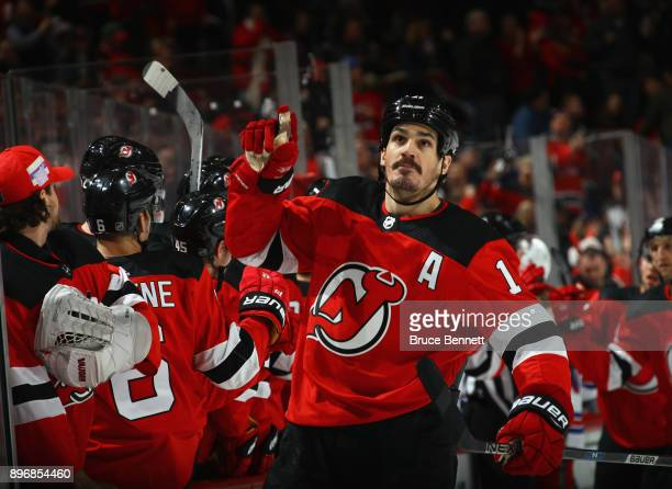 Brian Boyle of the New Jersey Devils celebrates his game tying powerplay goal at 1154 of the third period at the Prudential Center on December 21...