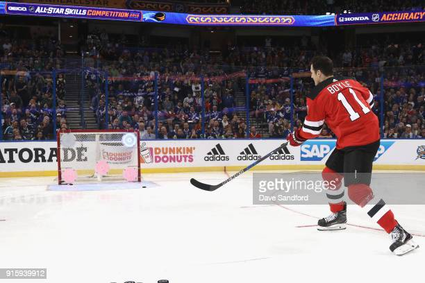 Brian Boyle of the New Jersey Devils competes during the Honda NHL Accuracy Shooting during 2018 GEICO NHL AllStar Skills Competition at Amalie Arena...