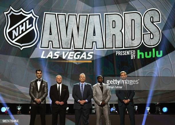 Brian Boyle of the New Jersey Devils head coach Gerard Gallant of the Vegas Golden Knights general manager Kevin Cheveldayoff of the Winnipeg Jets PK...