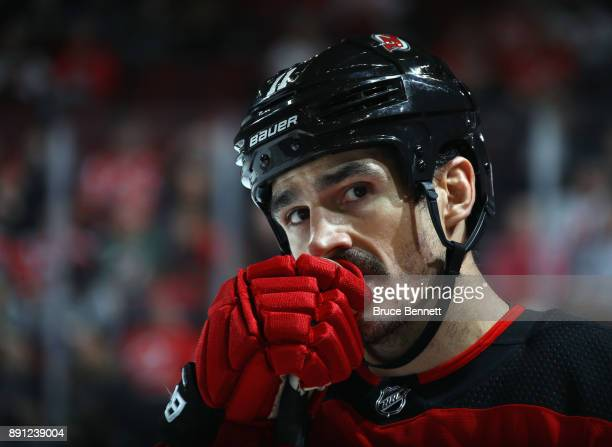 Brian Boyle of the New Jersey Devils pauses during a timeout during the second period against the Los Angeles Kings at the Prudential Center on...