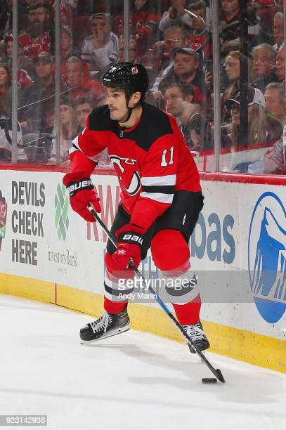 Brian Boyle of the New Jersey Devils plays the puck against the Columbus Blue Jackets during the game at Prudential Center on February 20 2018 in...