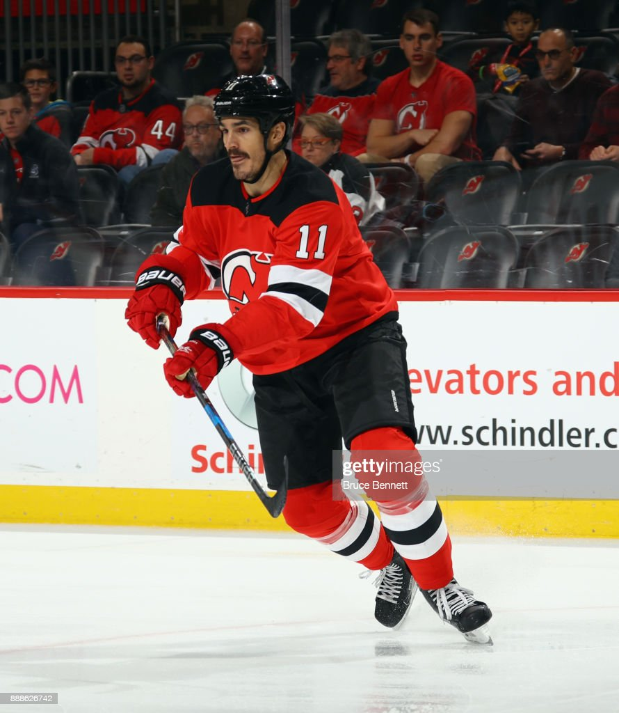 Brian Boyle #11 of the New Jersey Devils skates against the Columbus Blue Jackets at the Prudential Center on December 8, 2017 in Newark, New Jersey. The Blue Jackets defeated the Devils 5-3.