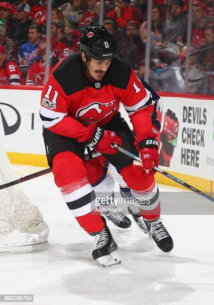Brian Boyle of the New Jersey Devils skates against the Columbus Blue Jackets during the game at Prudential Center on December 8 2017 in Newark New...