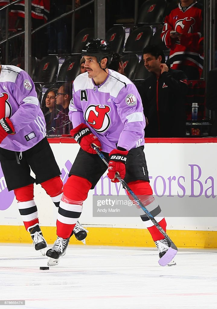 a7f0eff3576 Brian Boyle of the New Jersey Devils skates during warmups wearing ...