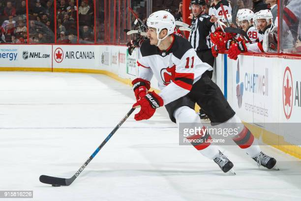 Brian Boyle of the New Jersey Devils skates with the puck against the Ottawa Senators at Canadian Tire Centre on February 7 2018 in Ottawa Ontario...