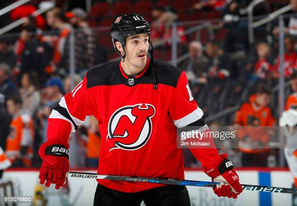 Brian Boyle of the New Jersey Devils warms up before a game against the Philadelphia Flyers on February 1 2018 at Prudential Center in Newark New...