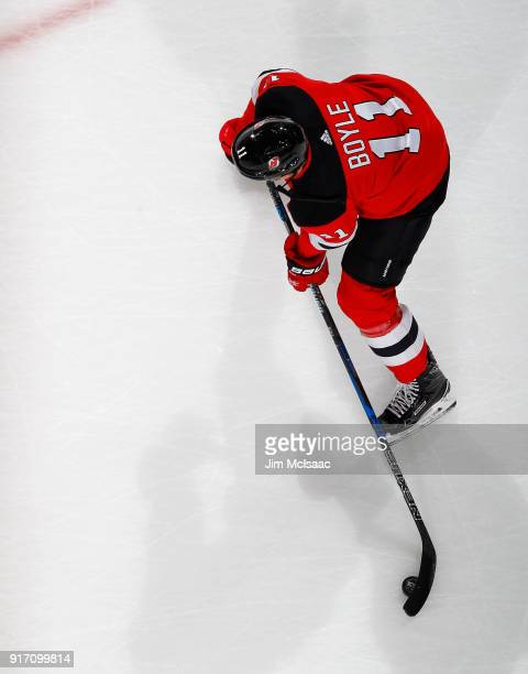 Brian Boyle of the New Jersey Devils warms up before a game against the Calgary Flames on February 8 2018 at Prudential Center in Newark New Jersey...