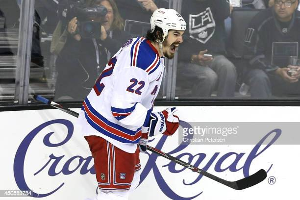 Brian Boyle of the New York Rangers celebrates his second period goal past goaltender Jonathan Quick of the Los Angeles Kings during Game Five of the...