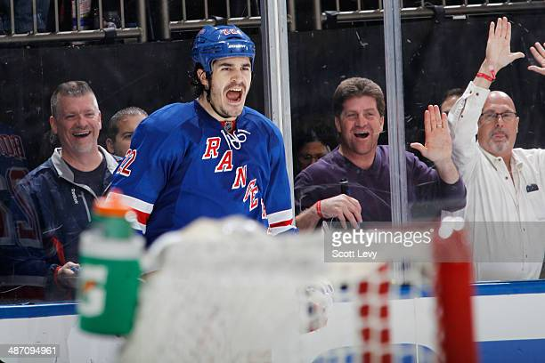 Brian Boyle of the New York Rangers reacts after scoring an empty net goal late in the third period against the Philadelphia Flyers in Game Five of...