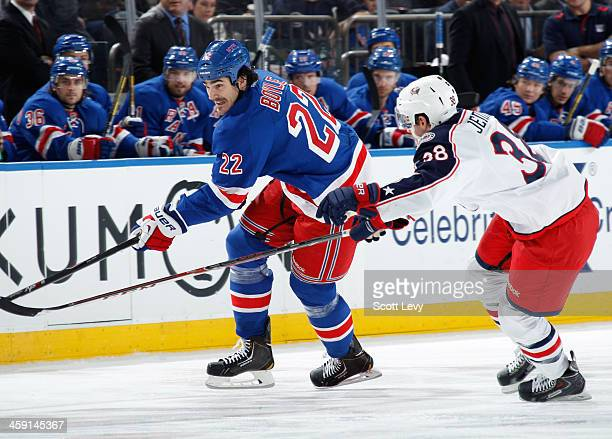 Brian Boyle of the New York Rangers skates against the Columbus Blue Jackets at Madison Square Garden on December 12 2013 in New York City The...