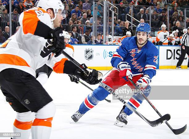 Brian Boyle of the New York Rangers skates against the Philadelphia Flyers in Game Five of the First Round of the 2014 Stanley Cup Playoffs at...