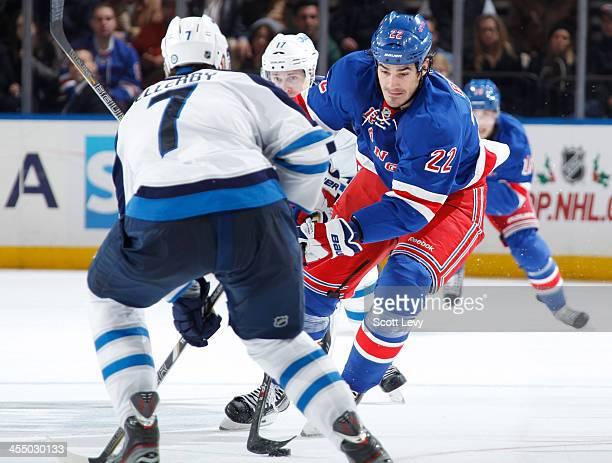 Brian Boyle of the New York Rangers skates against the Winnipeg Jets at Madison Square Garden on December 2 2013 in New York City The Winnipeg Jets...