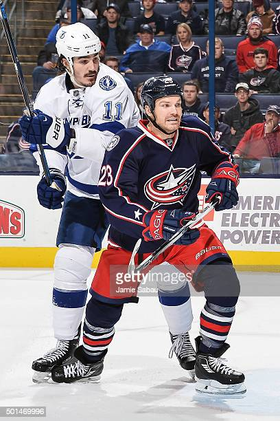 Brian Boyle of the Tampa Bay Lightning and David Clarkson of the Columbus Blue Jackets skate on December 14 2015 at Nationwide Arena in Columbus Ohio