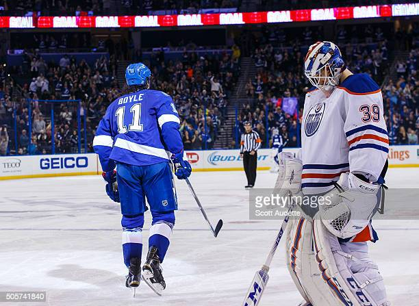 Brian Boyle of the Tampa Bay Lightning celebrates a goal against goalie Anders Nilsson and the Edmonton Oilers during the third period at the Amalie...