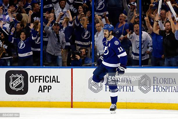 Brian Boyle of the Tampa Bay Lightning celebrates after scoring his second goal against Matt Murray of the Pittsburgh Penguins during the third...