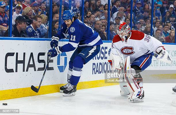 Brian Boyle of the Tampa Bay Lightning skates against goalie Mike Condon the Montreal Canadiens during the third period at the Amalie Arena on...