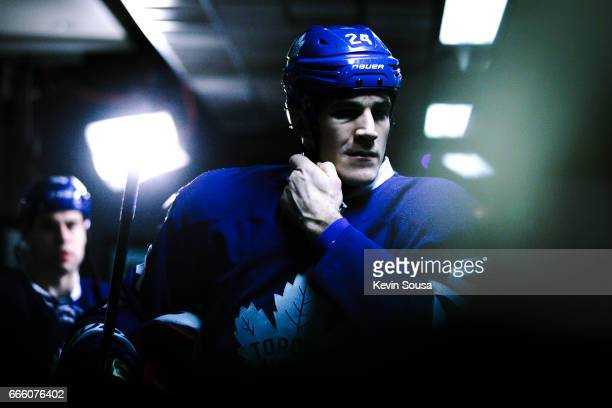 Brian Boyle of the Toronto Maple Leafs makes his way to the ice against the Tampa Bay Lightning during the third period at the Air Canada Centre on...