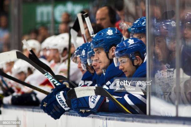 Brian Boyle of the Toronto Maple Leafs watches from the bench during the second at an NHL game against the Florida Panthers period at the Air Canada...