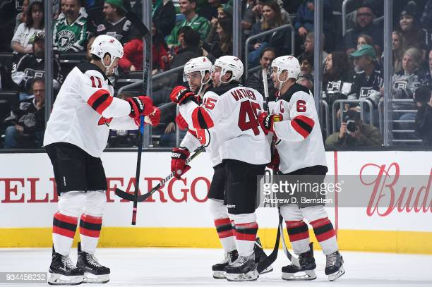 Brian Boyle Sami Vatanen Miles Wood and Andy Greene of the New Jersey Devils celebrate after scoring a goal against the Los Angeles Kings at STAPLES...