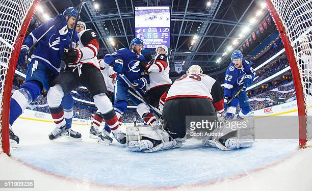 Brian Boyle Victor Hedman and Erik Condra of the Tampa Bay Lightning battle against Nicklas Grossmann Connor Murphy and goalie Louis Domingue of the...