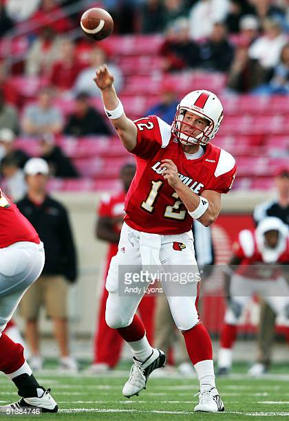 Brian Brohm of Louisville throws a pass against East Carolina during the game at Papa John's Stadium on October 2 2004 in Louisville Kentucky
