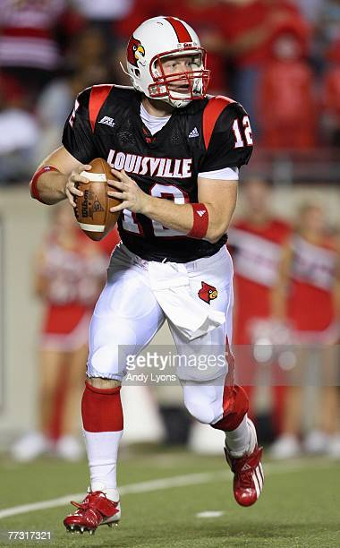 Brian Brohm of the Louisville Cardinal looks to pass the ball during a game against the Utah Utes on October 5, 2007 at Papa John's Cardinal Stadium...