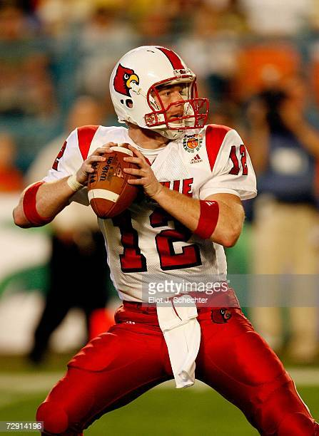 Brian Brohm of the Louisville Cardinals looks to pass against the Wake Forest Demon Deacons during the 2007 FedEx Orange Bowl at Dolphin Stadium on...