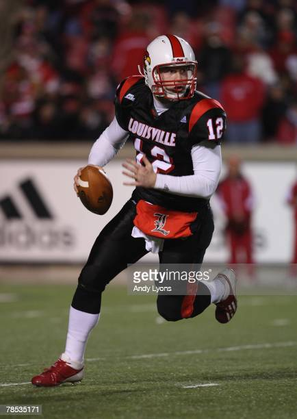 Brian Brohm of the Louisville Cardinals rolls out to pass during the Big East Conference game against the Rutgers Scarlet Knights on November 29,...