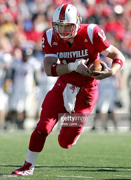 Brian Brohm of the Louisville Cardinals runs with the ball during the game against the Cincinnati Bearcats on October 14 2006 at Papa John's Cardinal...