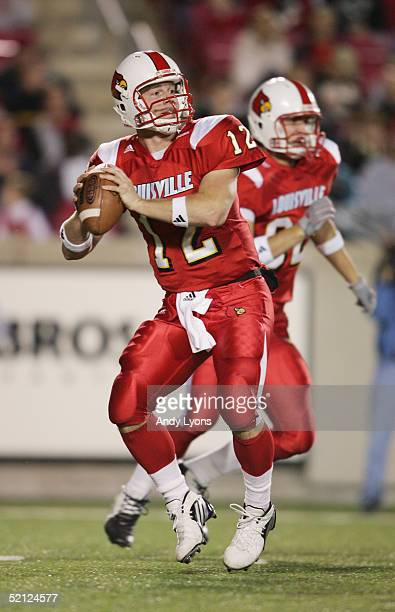 Brian Brohm of the Louisville Cardinals sets to pass during the game against the Texas Christian University Horned Frogs at Papa John's Stadium on...