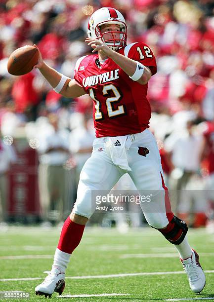 Brian Brohm of the Louisville Cardinals throws a pass against the Florida Atlantic Owls during the game at Papa John's Stadium on October 1, 2005 in...