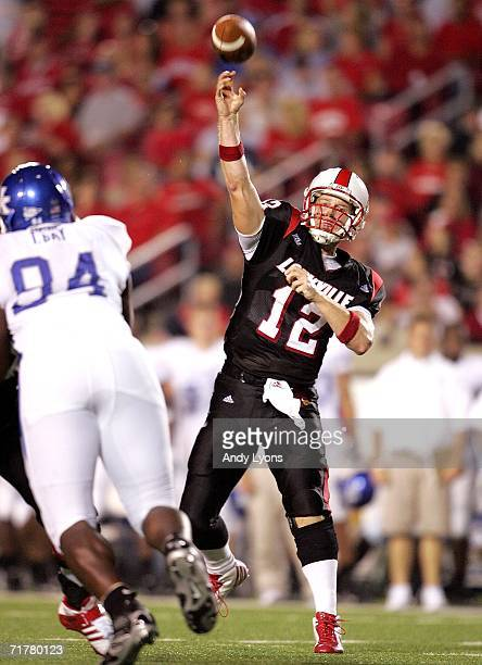 Brian Brohm of the Louisville Cardinals throws a pass against the Kentucky Wildcats during the NCAA game on September 3 2006 at Papa John's Stadium...