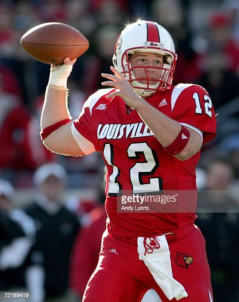 Brian Brohm of the Louisville Cardinals throws a touchdown pass l during the game against the Cincinnati Bearcats on October 14 2006 at Papa John's...