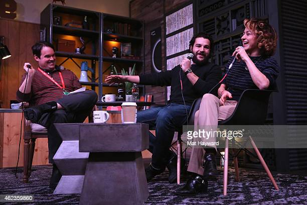 Brian Brooks of The Film Society of Lincoln Center interviews actors Christopher Abbott and Alia Shawkat onstage at Cinema Cafe during the 2015...