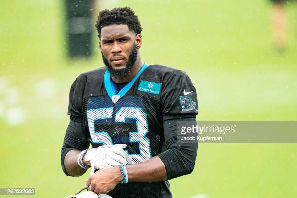 Brian Burns of the Carolina Panthers during the Carolina Panthers Training Camp at Bank of America Stadium on August 21, 2020 in Charlotte, North...