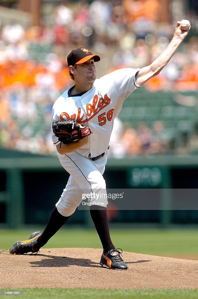 Brian Burres #56 of the Baltimore Orioles pitches against the Arizona Diamondbacks on June 17, 2007 at Camden Yards in Baltimore, Maryland.