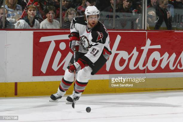 Brian Campbell of the Buffalo Sabres plays the puck against the Ottawa Senators in game five of the Eastern Conference Semifinals during the 2006 NHL...