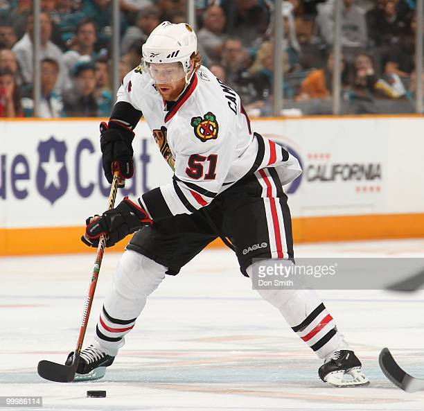 Brian Campbell of the Chicago Blackhawks moves the puck in the neutral zone in Game One of the Western Conference Finals during the 2010 NHL Stanley...