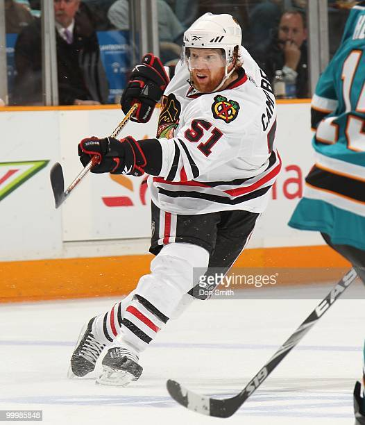 Brian Campbell of the Chicago Blackhawks passes the puck in Game One of the Western Conference Finals during the 2010 NHL Stanley Cup Playoffs...