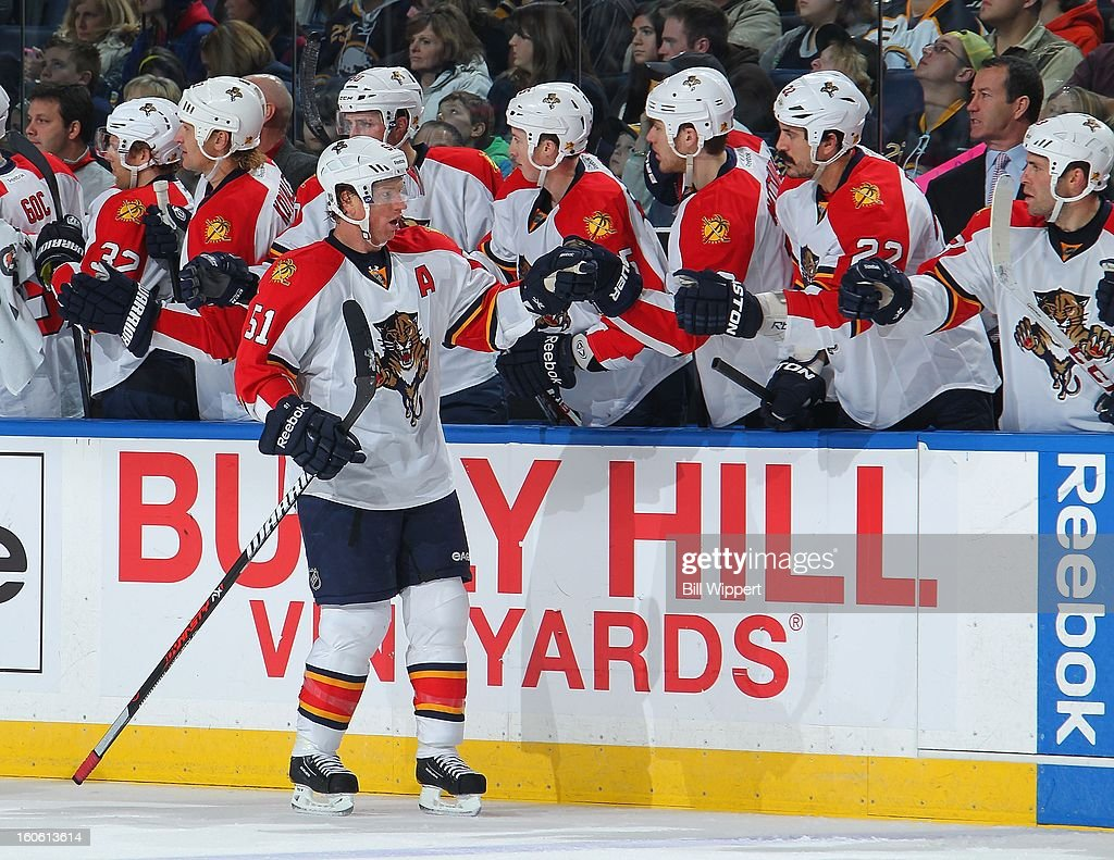 Brian Campbell #51 of the Florida Panthers celebrates his game-winning goal against the Buffalo Sabres on February 3, 2013 at the First Niagara Center in Buffalo, New York. Florida defeated Buffalo, 4-3.
