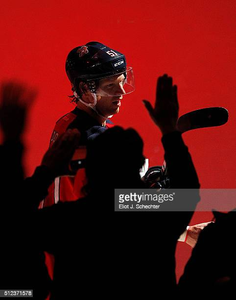 Brian Campbell of the Florida Panthers is saluted by fans as a star of the game after their win against the Arizona Coyotes at the BBT Center on...