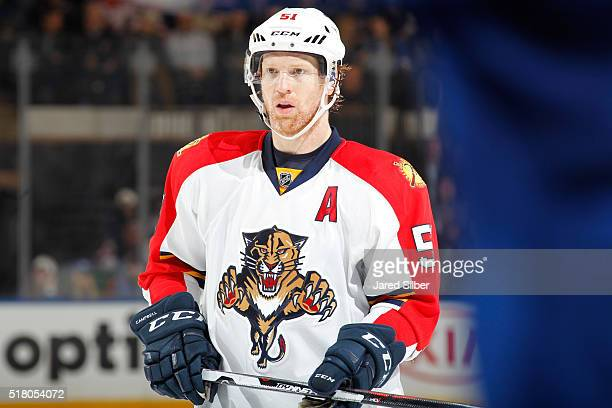 Brian Campbell of the Florida Panthers looks on against the New York Rangers at Madison Square Garden on March 21 2016 in New York City The New York...