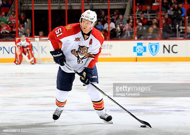 Brian Campbell of the Florida Panthers prepares to shoot the puck during their NHL game against the Carolina Hurricanes at PNC Arena on January 18...