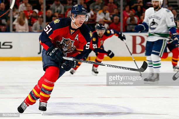 Brian Campbell of the Florida Panthers skates for position against the Vancouver Canucks at the BBT Center on December 20 2015 in Sunrise Florida