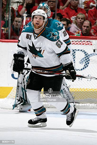 Brian Campbell of the San Jose Sharks skates against the Calgary Flames during game six of the 2008 NHL Stanley Cup Playoffs conference quarter-final...