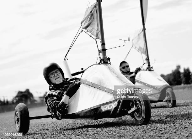 Competitors race during the 2018 Victorian Blokart Championships on September 22 2018 in Melbourne Australia