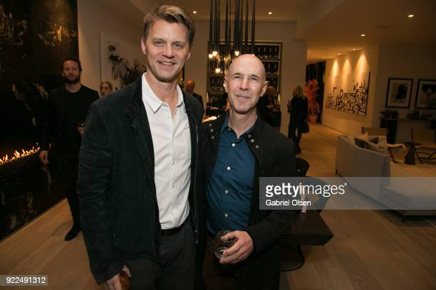 Brian Caplan and guest attend the Enchanted Woods LA an immersive pop art and social open house launch hosted by ANR Signature Vesta Home Ernie...
