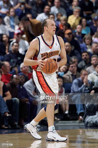 Brian Cardinal of the Golden State Warriors surveys the court during the game against the Portland Trail Blazers at the Arena in Oakland on November...