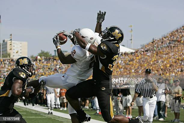 Brian Carter of the Texas Longhorns makes a leaping reception during a game against the Missouri Tigers at Memorial Stadium in Columbia Missouri on...